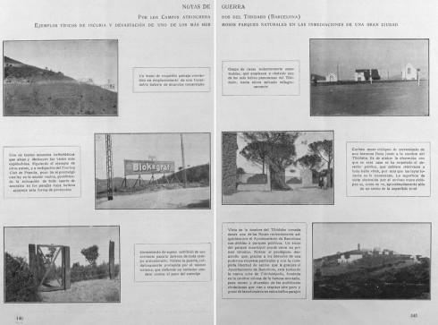 Doble pàgina de la revista CIVITAS, núm. 5, de 1915, denunciant diverses agressions paisatgístiques al Tibidabo.