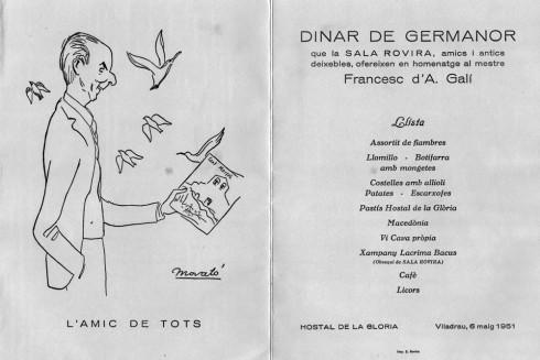 Francesc d'Assís Galí i Fabra. Dinar de Germanor organitzat pels seus alumnes al Montseny. 02-1951