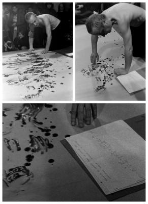 Acció de Jordi Benito escrivint amb la seva pròpia sang a la Virreina de Barcelona, dins el cicle L'acció contra l'acció  comissariat per Carles Hac Mor i Ester Xargay l'any 1996. Fotos i composició de Joan Casellas (Arxiu Aire).