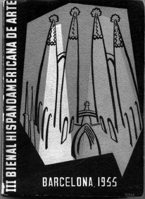 Coberta del catàleg de la III Bienal Hispanoamericana  de Arte de Barcelona, de 1955. Disseny d'Enric Planasdurà.
